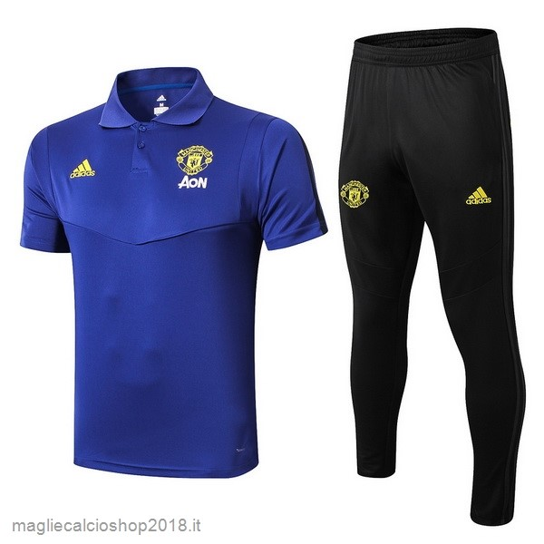 Set Completo Polo Manchester United 2019/20 Blu Giallo Nero